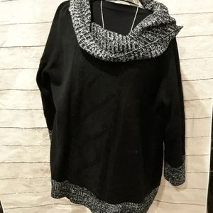 Black long sleeve cowl neck sweater